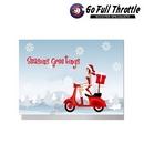 Card - Snow Scene Female Santa On Scooter