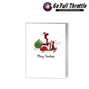 Card - Female Santa On Red Scooter