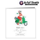 Card - Female Santa On Green Scooter