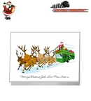 Card - Santa On Double Decker Bus Riding Sleigh