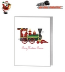 Card - Cute Santa On A Locomotive Train