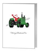 Card - Santa Riding A Tractor