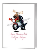 Card - Rudolph In Black Leathers On Motorbike