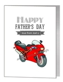 Father's Day Card - Red Motorbike
