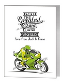 Father's Day Card - Green Motorbike