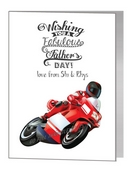 Father's Day Card - Red Biker