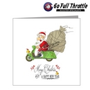 Card - Santa On Scooter With Yellow Bird