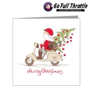 Card - Santa On Scooter With Christmas Tree
