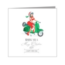Card - Sexy Female Santa On Green Scooter