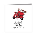 Card - Santa on Scooter With Sackful of Falling Presents