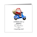 Card - Cute Santa on Blue Scooter